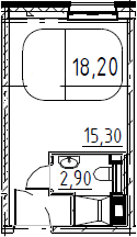 Студия, 18.2 м²