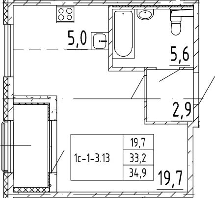 Студия, 34.9 м², 2 этаж