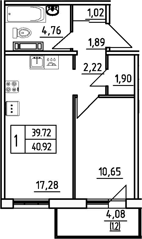 1-к.кв, 43.72 м²