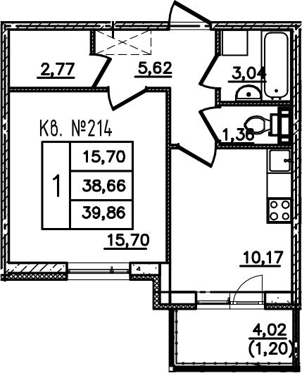 1-комнатная, 39.87 м²– 2