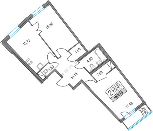 3Е-к.кв, 69.23 м², 4 этаж