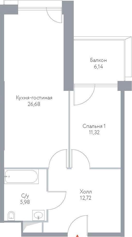 2Е-к.кв, 62.84 м², 6 этаж