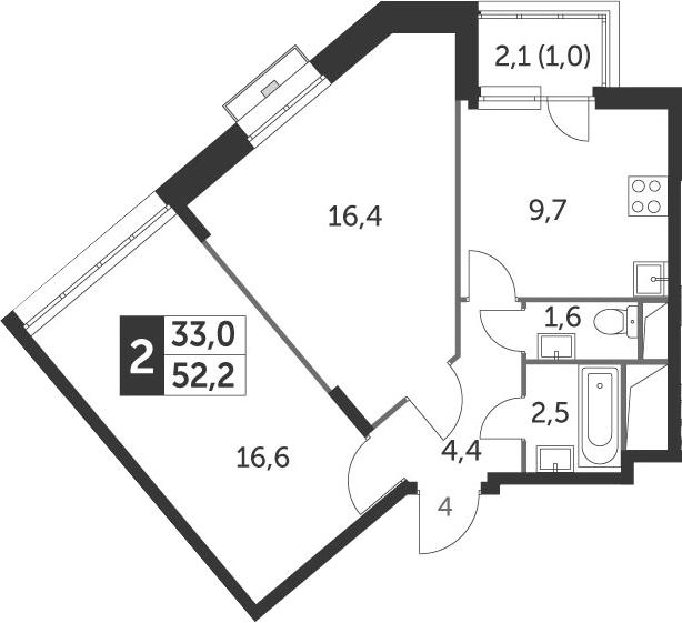 2-к.кв, 52.2 м²