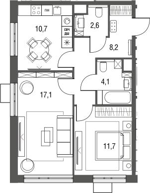 2-к.кв, 54.4 м²