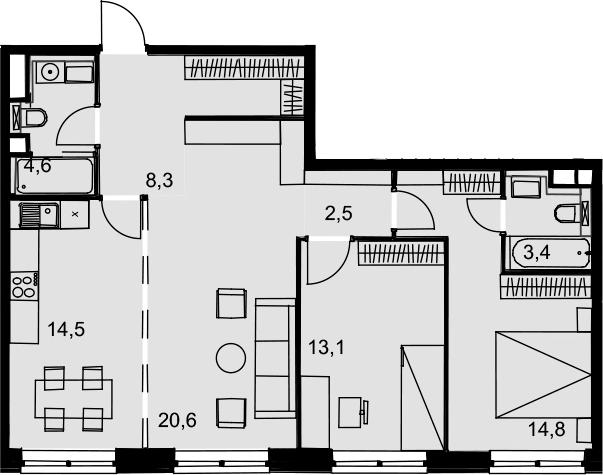 3-к.кв, 81.8 м²