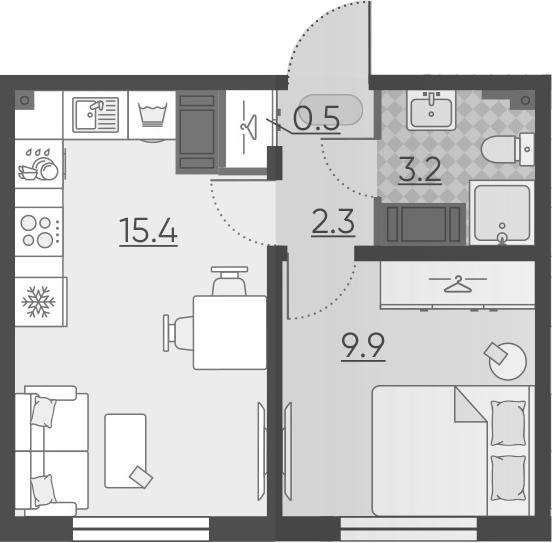 2Е-комнатная, 31.3 м²– 2