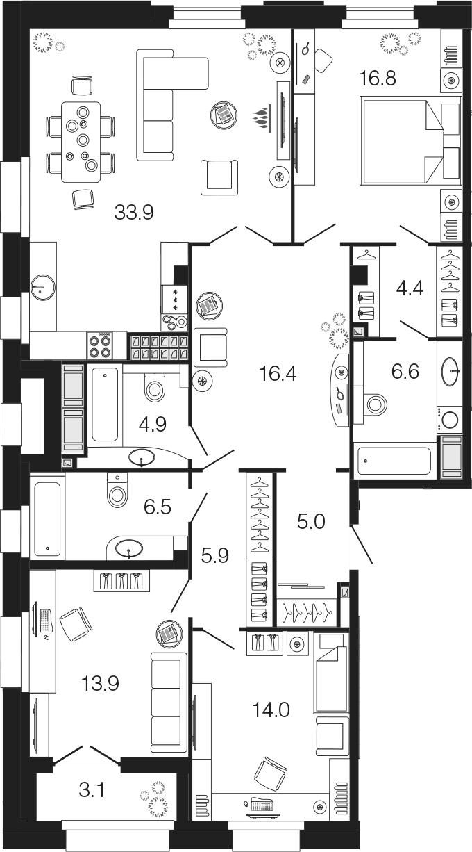 4Е-комнатная, 128.3 м²– 2
