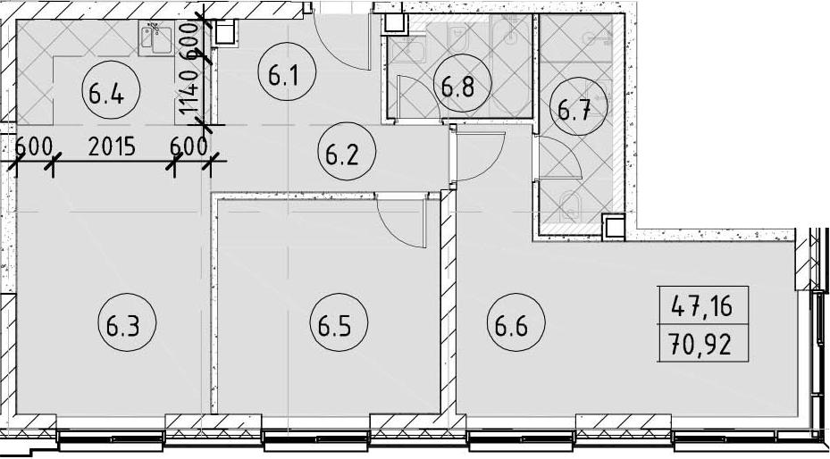 3Е-комнатная, 70.92 м²– 2