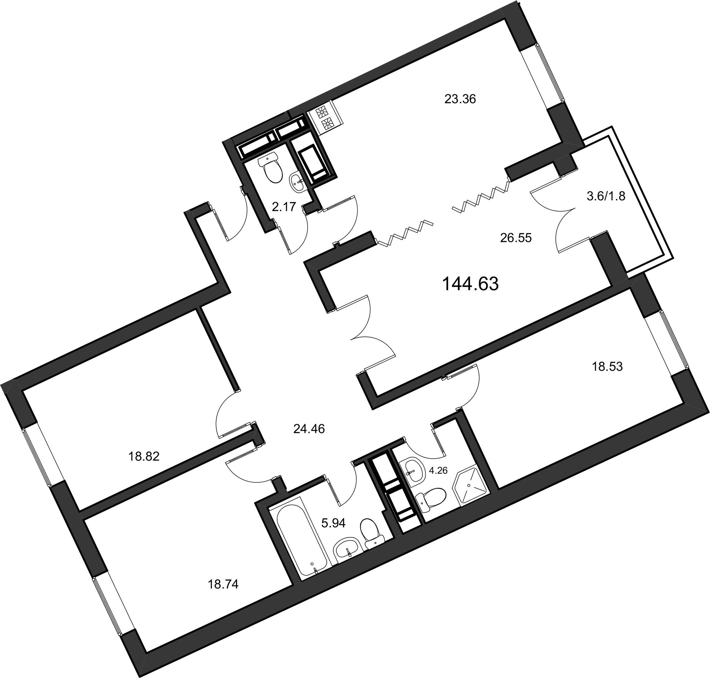 4-комнатная, 144.63 м²– 2