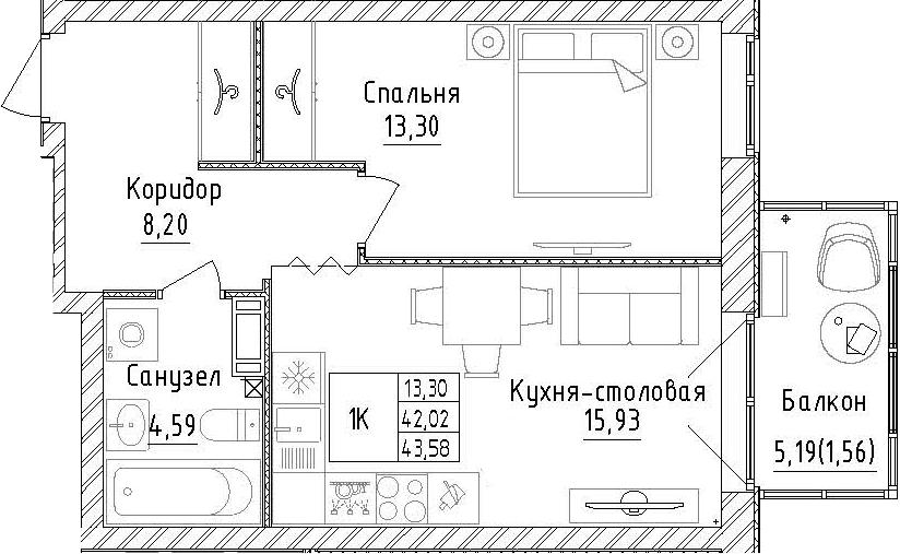 1-комнатная, 43.58 м²– 2