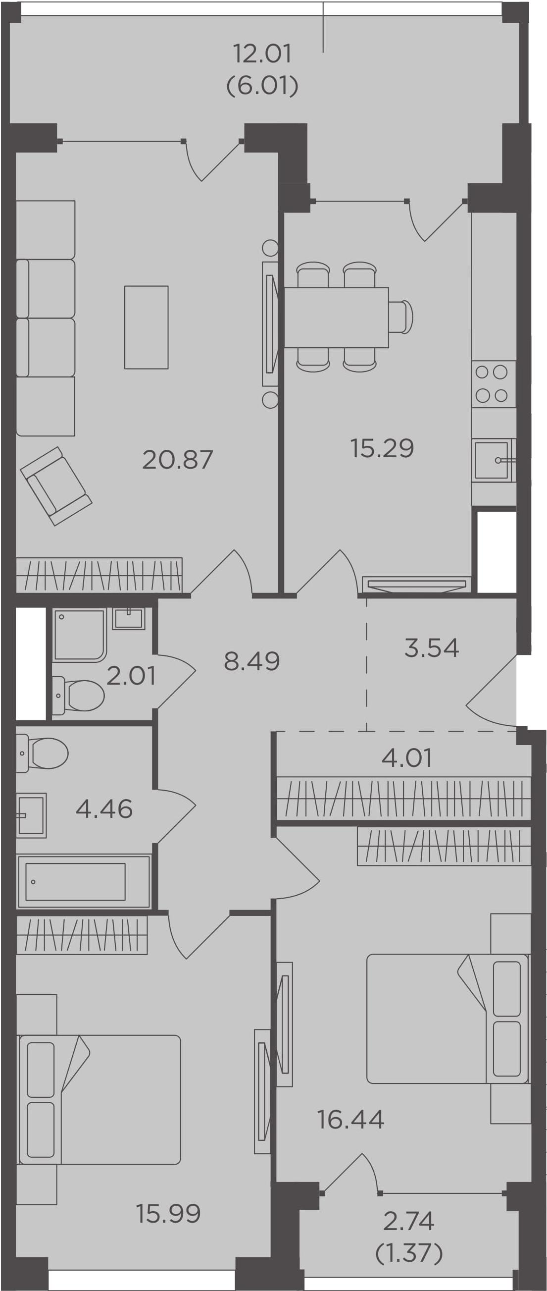 3-к.кв, 98.48 м², 3 этаж