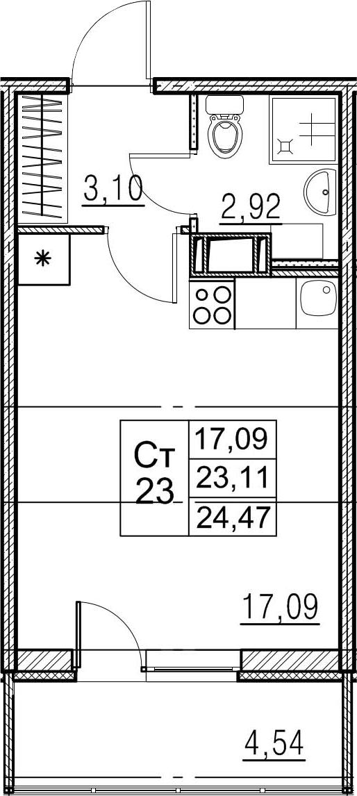 Студия, 27.65 м²