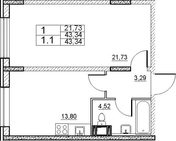 1-к.кв, 43.34 м²