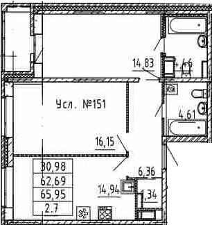 2-комнатная, 62.69 м²– 2