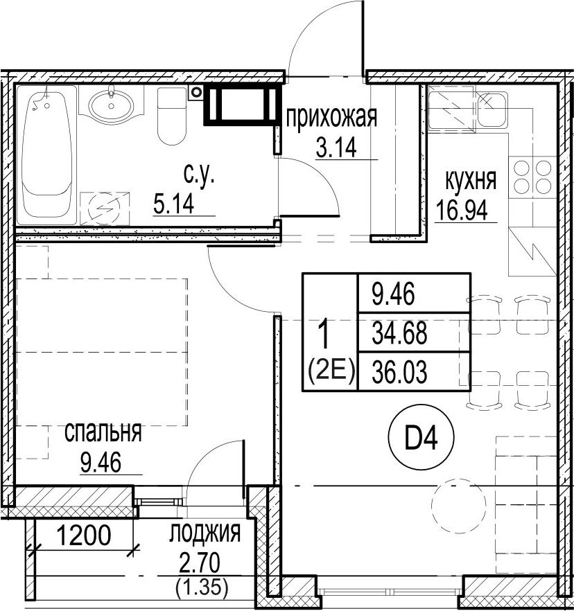 2Е-комнатная, 36.03 м²– 2