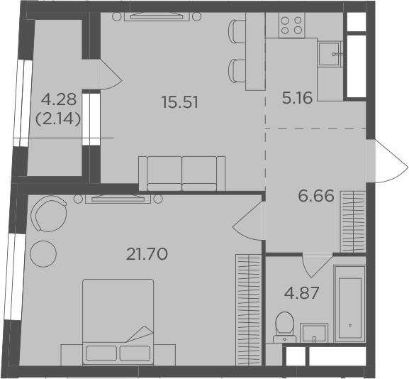 2-к.кв (евро), 58.18 м²