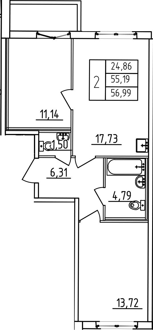 3-к.кв (евро), 61.19 м²