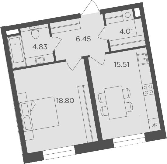 1-комнатная, 49.6 м²– 2