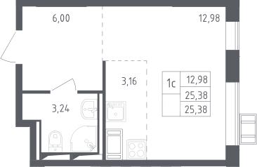 Студия, 25.38 м²