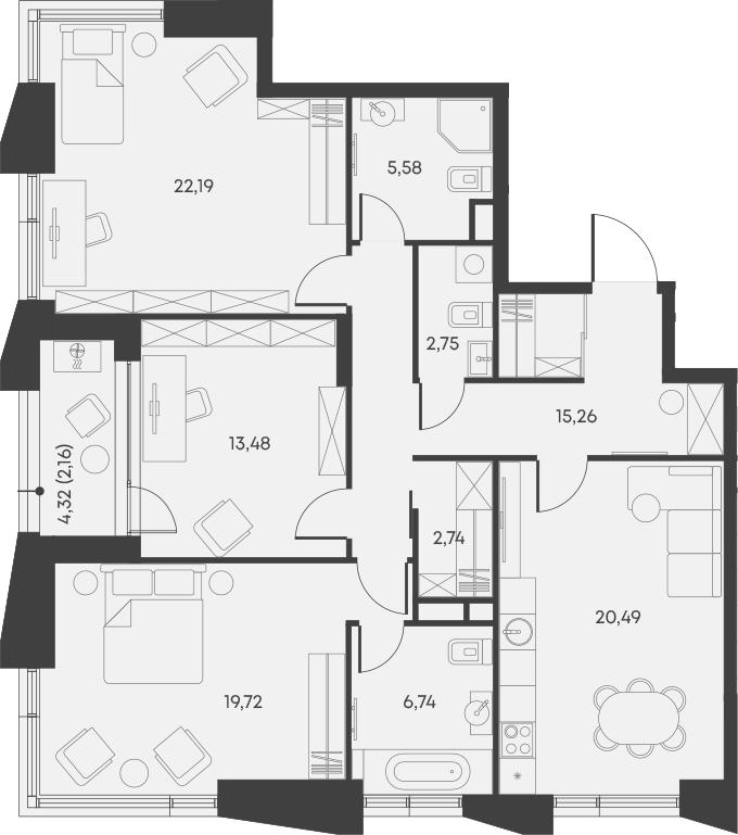 4Е-комнатная, 111.11 м²– 2