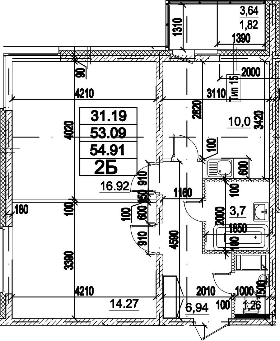 2-к.кв, 54.91 м²