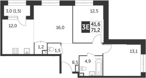 3Е-комнатная, 71.2 м²– 2
