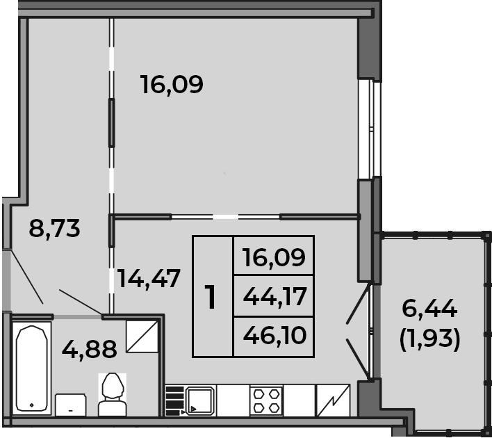 1-комнатная, 44.17 м²– 2