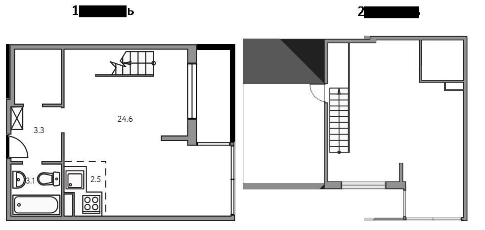 Свободная планировка, 49.7 м²– 2