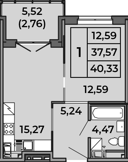2Е-к.кв, 37.57 м², 4 этаж