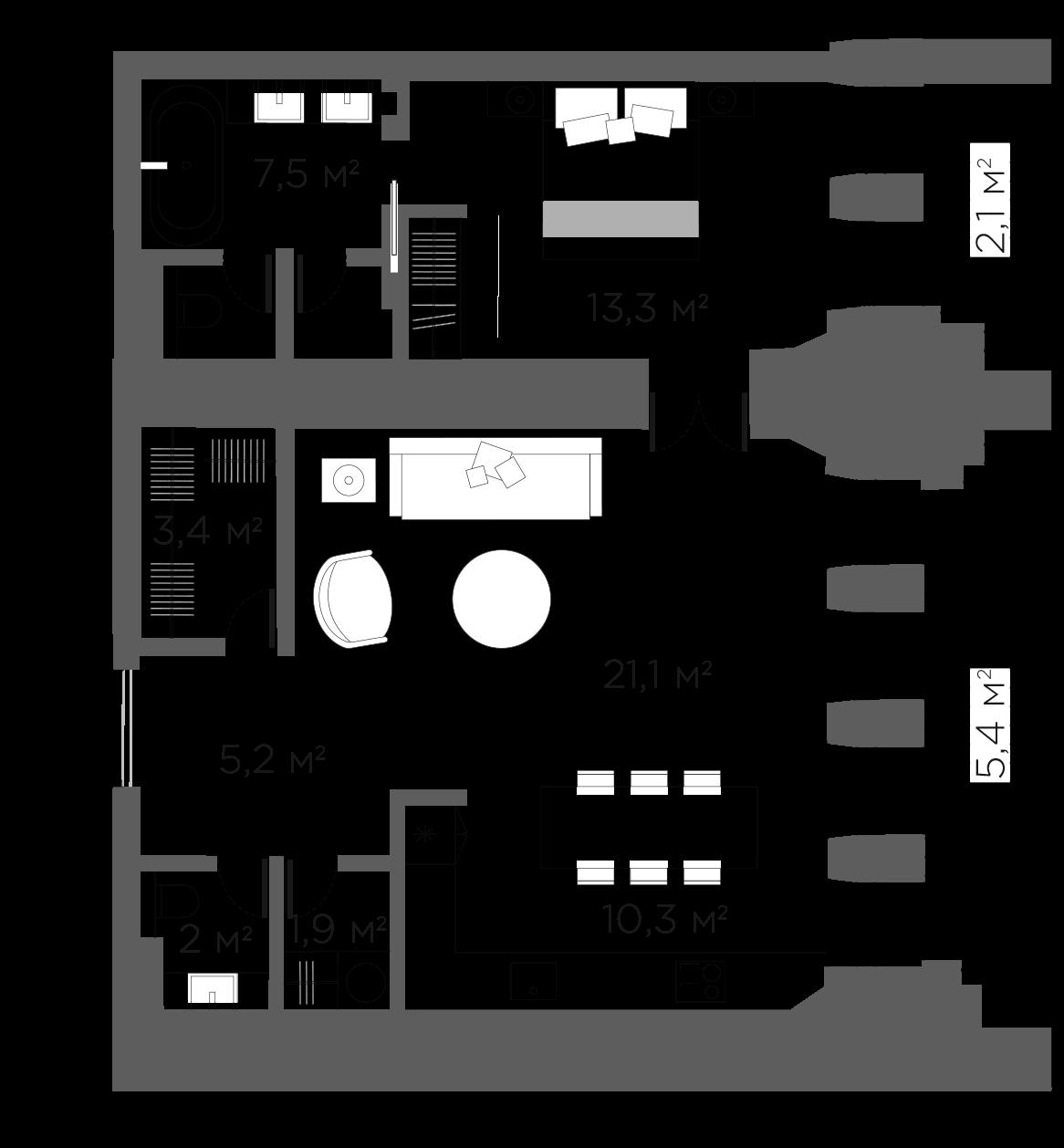2Е-к.кв, 68.47 м²