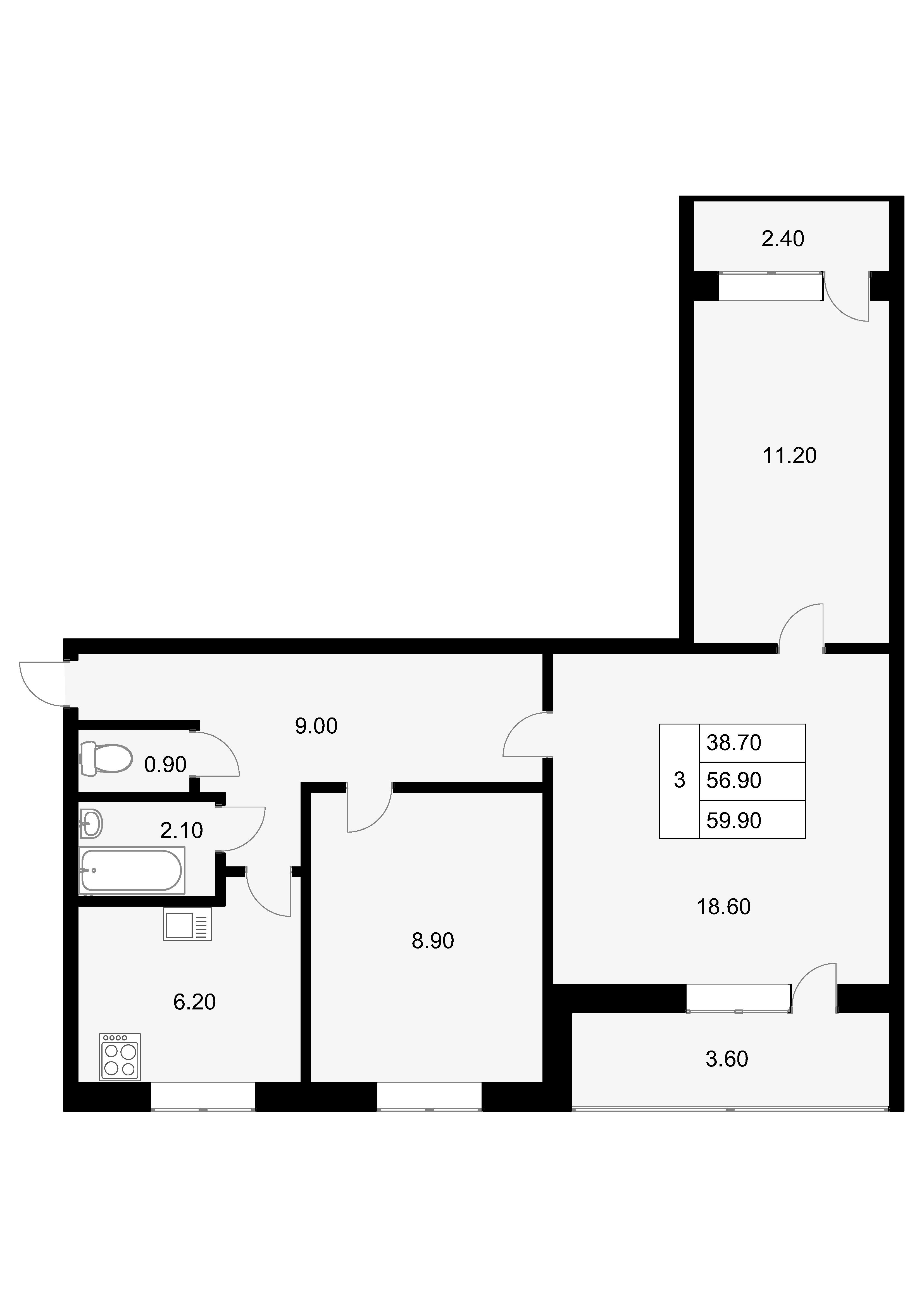 3-к.кв, 62.9 м²