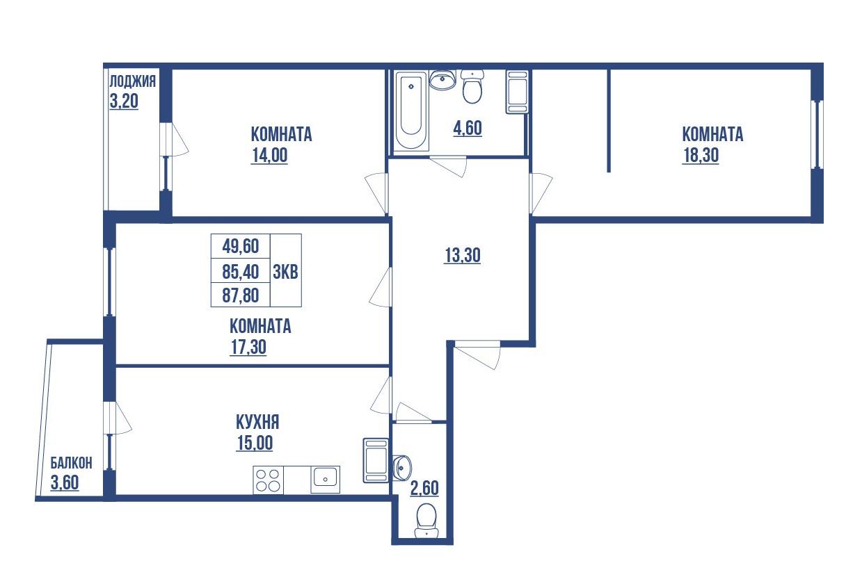4Е-комнатная, 86.18 м²– 2