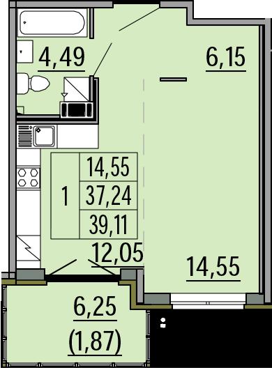 Студия, 39.11 м²– 2