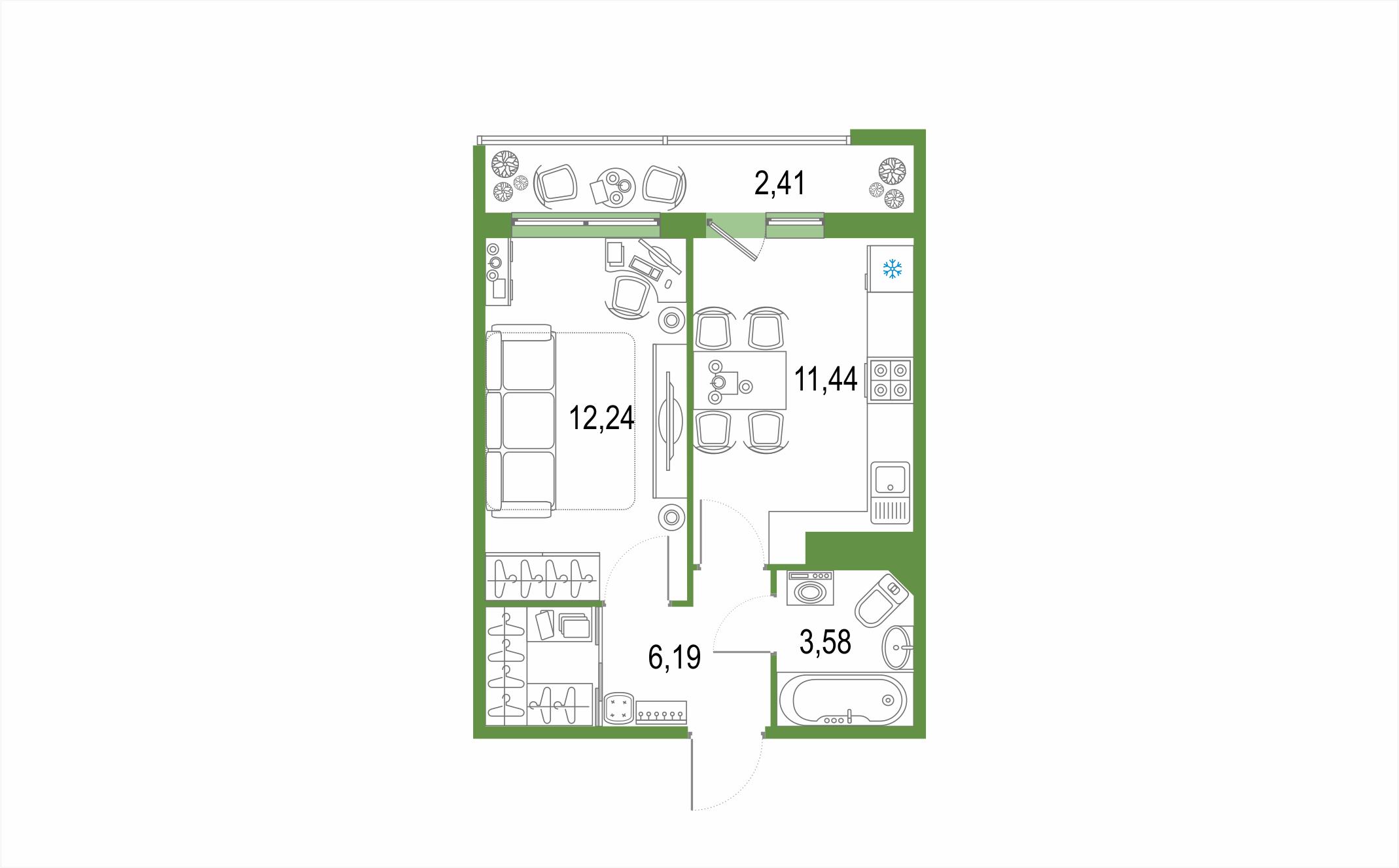 1-к.кв, 35.86 м²