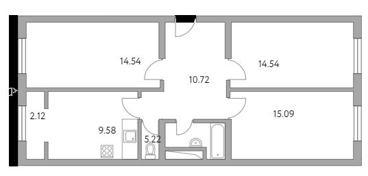 3-к.кв, 71.81 м²