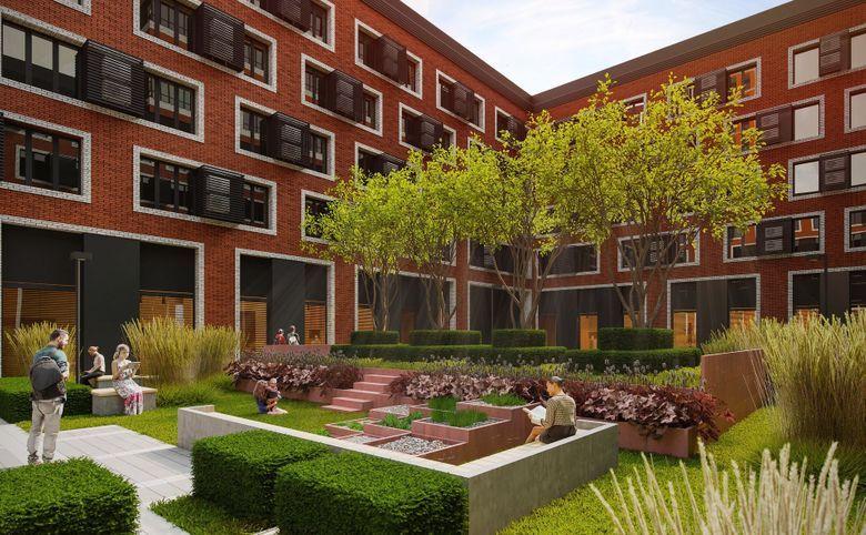 Внутренний двор с ландшафтным дизайном и амфитеатром