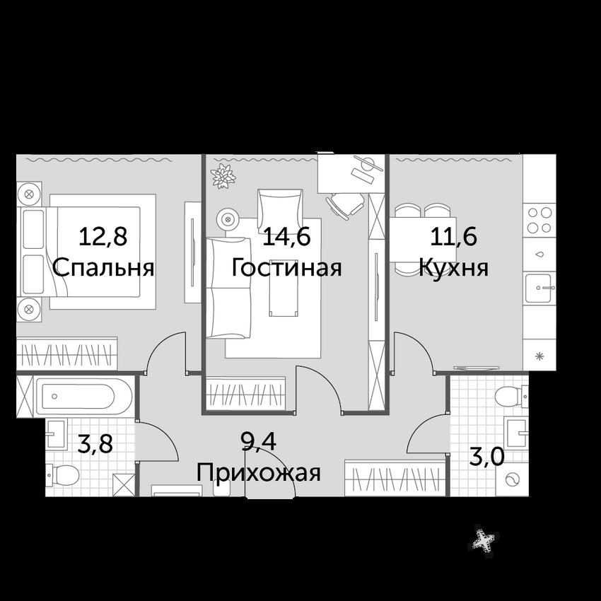 2-комнатная, 55.2 м²– 2