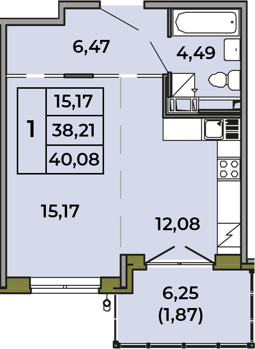 Студия, 38.21 м²– 2