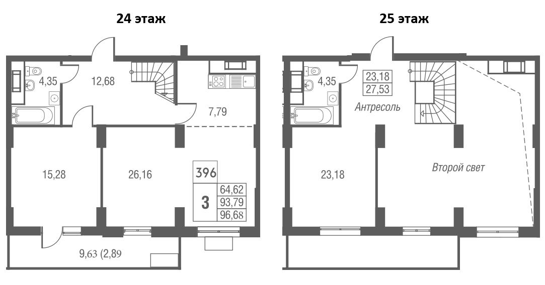 3Е-к.кв, 96.68 м², 24 этаж
