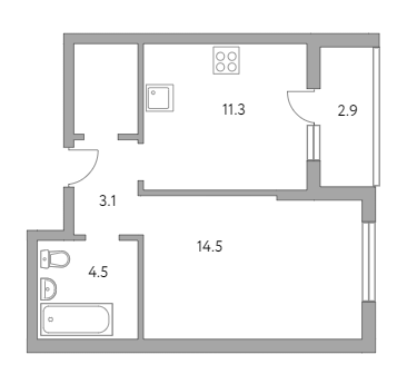 1-к.кв, 39.1 м²