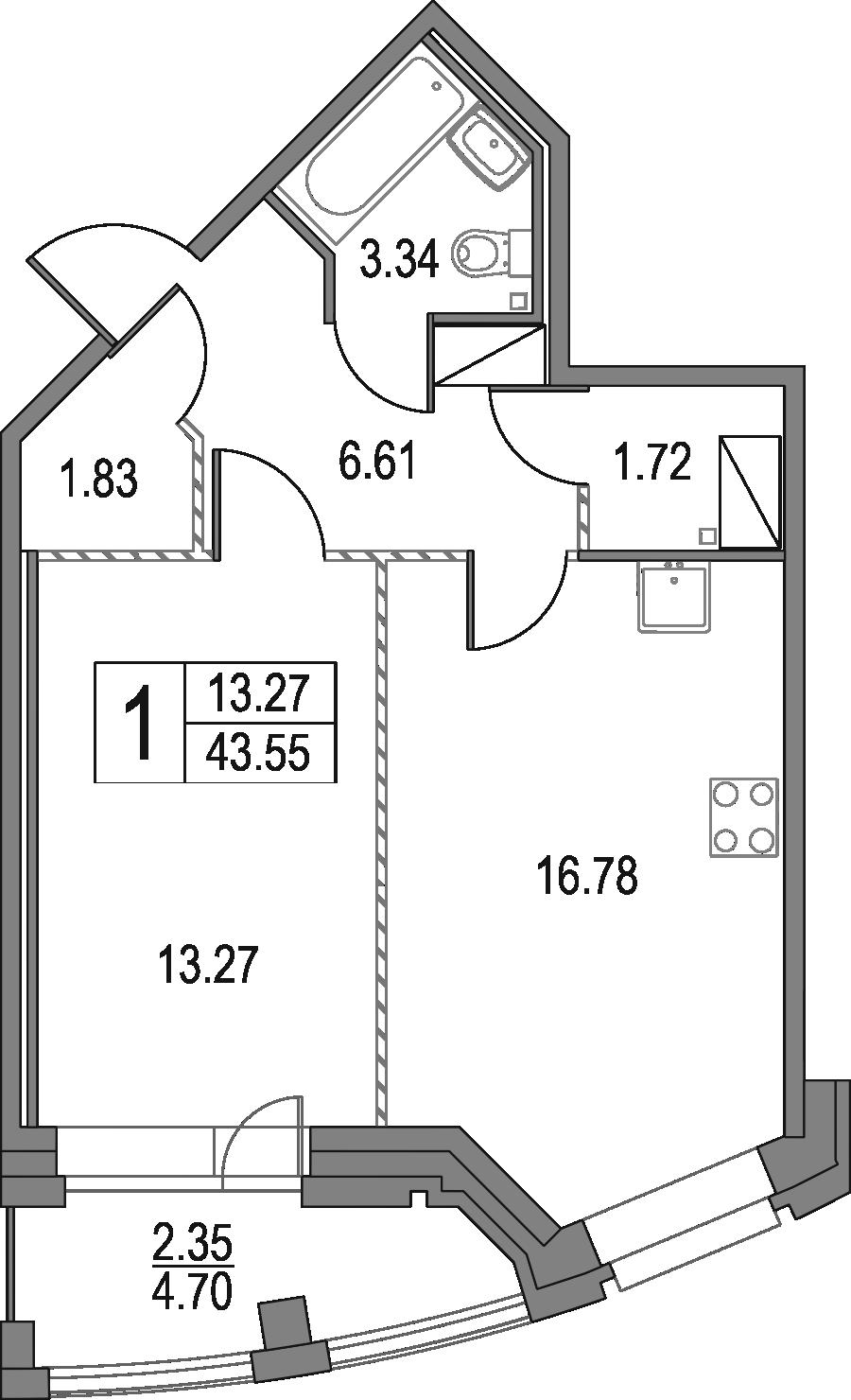 2Е-к.кв, 43.55 м², 23 этаж