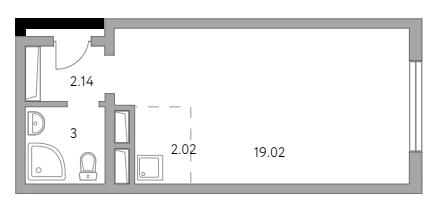 Студия, 26.18 м²