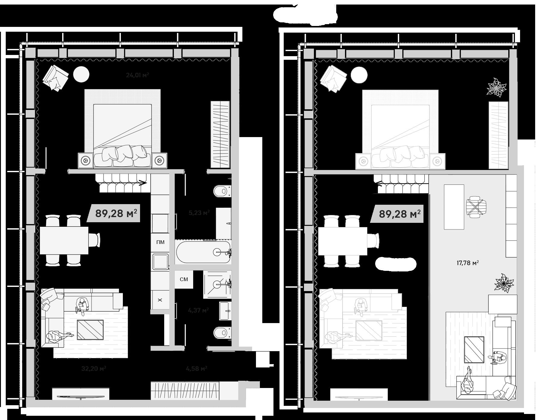 3Е-комнатная, 89.28 м²– 2