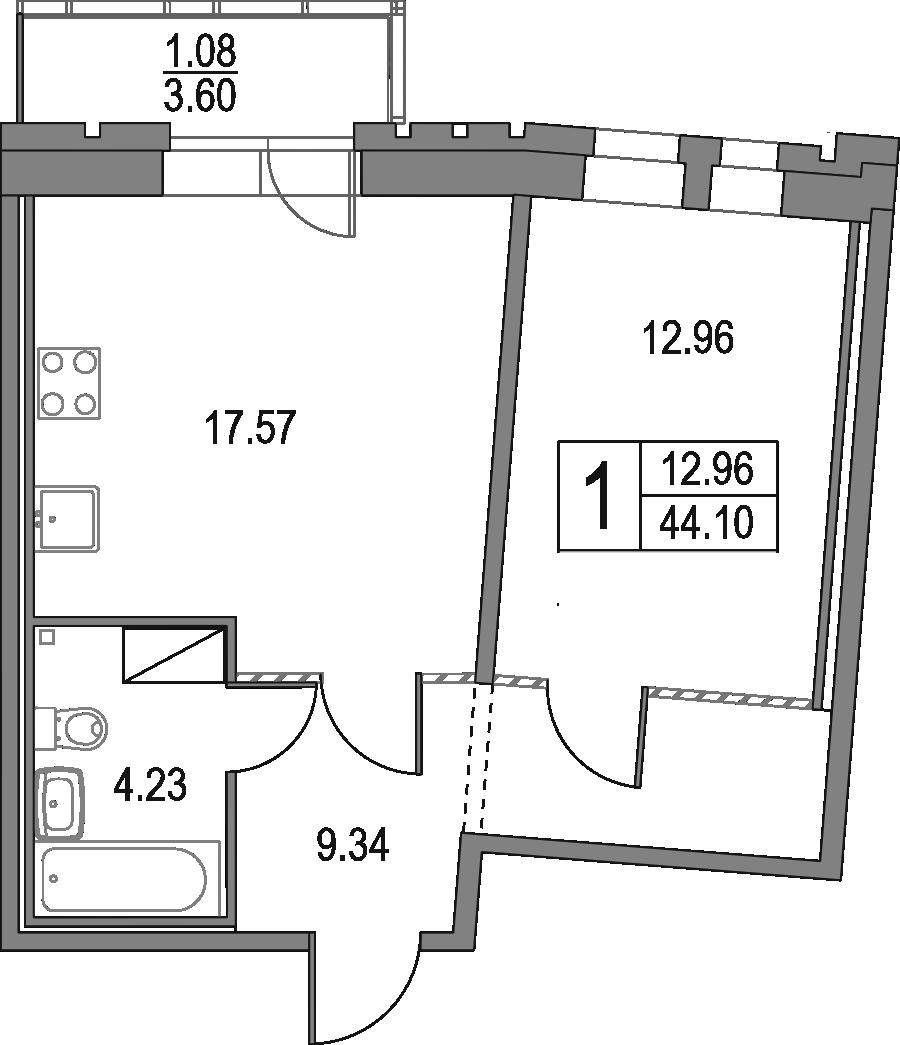 2Е-к.кв, 44.1 м², 21 этаж