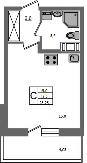 Студия, 22.41 м², 9 этаж