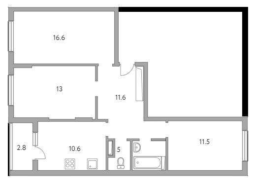3-к.кв, 71.1 м²