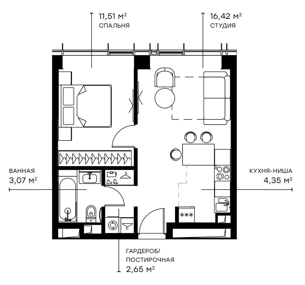 2Е-комнатная, 38 м²– 2