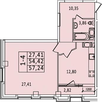 1-к.кв, 59.12 м²