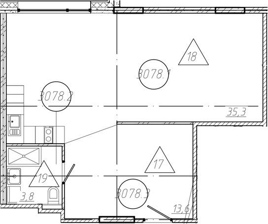 Студия, 52.73 м²