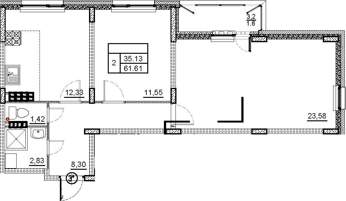 2-комнатная квартира, 61.61 м², 4 этаж – Планировка